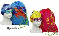 Speedo Junior Kids Sea Squad Swim Bag Set - Goggles, Cap & Bag - Blue & Pink