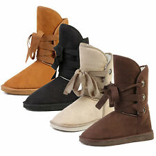 Women High Top Faux Suede Winter Warm Snow Boots Fur Lined Flat Shoes Outdoor