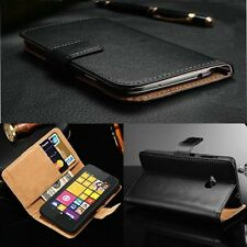 Genuine Real Leather Magnetic Flip Card Wallet Case Cover For Nokia Lumia R