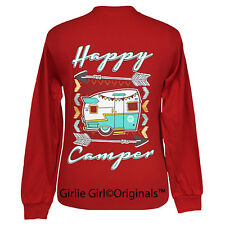 "Girlie Girl Originals ""Happy Camper"" Red Long Sleeve Unisex Fit T-Shirt"