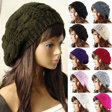 Warm Winter Women Hat Beret Braided Baggy Knit Crochet Beanie Ski Cap