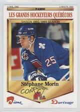1992 Panini Diana/Durivage Les Grands Hockeyeurs Quebecois 9 Stephane Morin Card