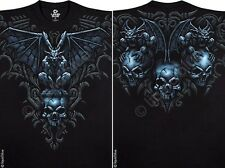 FANTASY-GARGOYLE-SKULLS-2 SIDED BLACK TSHIRT  M-L-XL-XXL