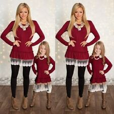 Family Matching Clothes Mother Daughter Girl Mini Knitted Lace Dress Tops Blouse
