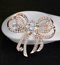 Silver Gold Flower Brooch Rhinestone Crystal Butterfly Bowknot Wedding Party Pin