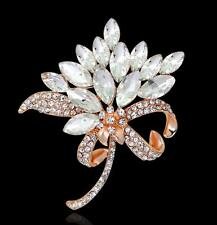 Charm Women Flower Rhinestone Crystal Diamante Wedding Bridal Bouquet Brooch Pin