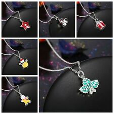 Luxury Christmas Bell Santa Tree Boot Wreath Cute Pendant Necklace Jewelry Gifts