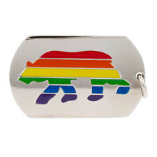 Gay Pride Stainless Steel Rainbow / Bear Pride Dogtag with Chain