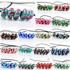 5Pcs European SILVER MURANO GLASS BEAD Fit Charm Bracelet Jewelry Making