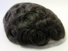 Men's Hairpiece Toupee Dark Chestnut Brown + Some Gray 100% Human Hair 220