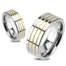 MENS OR WOMENS TUNGSTEN TRIPLE TWO TONE GOLD WEDDING RING 5 6 9 10 11 12 13