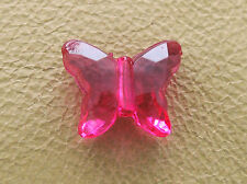 11.5x14mm 50~150pcs CLEAR DEEP PINK ACRYLIC PLASTIC BUTTERFLY LOOSE BEADS CM4481