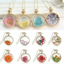 Round True Dried Flower Inside Glass Locket Necklace Long Sweater Chain Gift