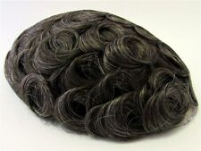 Hairpiece Toupee Very Dark Golden Brown + A Little Gray 100% Human Hair RARE 610