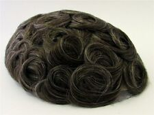 Men's Hairpiece Toupee Dark Golden Brown + Some Gray 100% Indian Human Hair 720