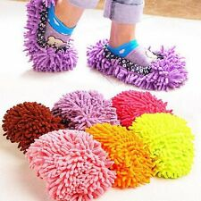 2pcs  Multi-Function Chenille Fibre Washable Dust Mop Slippers Cleaning Shoes LH