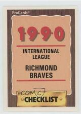 1990 ProCards Minor League #251 Richmond Braves Team Baseball Card