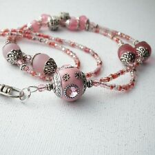 Pink Indonesia Bead Lanyard - Silver Bead Caps, ID Badge Holder, ID Necklace