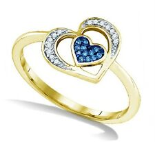Great Design! 100% 10K Yellow Gold Blue & White Diamond Heart Shape Ring .07ct