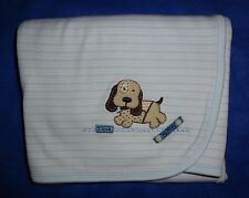 CARTERS blue I LOVE my PUPPY dog striped SECURITY baby BOY reversible BLANKET