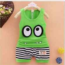 Outfit New Summer 2PCS Baby Boys Sleeveless T-shirt +Shorts Clothes Set