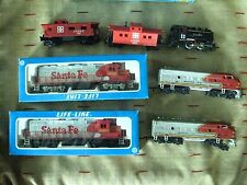 HO Train Lot F - 6 pc- Santa Fe 2 Engine / Dummy Sets - 2 Caboose - Steam Engine