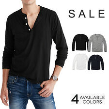 Mens Casual Long Sleeve Henley Shirt Cotton Tops Tee Jersey Plain Color S M L XL
