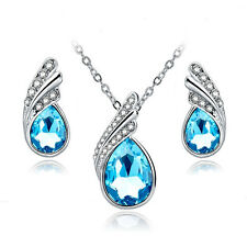 Jewelelry Sets Silver Plated Rhinestone Jewellery Necklace Earrings Crystal Set