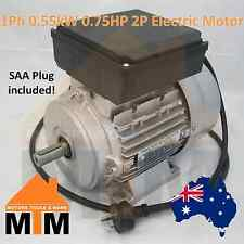Single Phase Electric Motor 240v 0.55 kW 0.75 HP 2800rpm 2 Pole