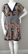 Tua Boho Bohemian Paisley Stretch Empire Waist Dress Navy & White Plus 1X 2X 3X