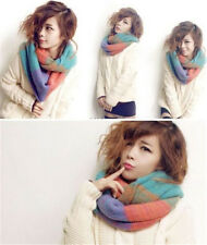 Women Cool Winter Warm Scarf 2 Circle Cable Knit Cowl Neck Long Shawl