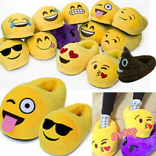 Womens Xmas Cute Emoji Winter Warm Soft Plush Indoor Pajama Home Slippers Shoes