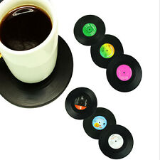 6PCS/Set Vinyl Coaster Groovy Record Cup Drinks Holder Mat Tableware Placemat