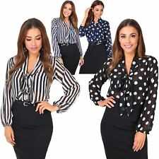 Womens Basics Workwear Long Sleeve Pussycat Bow Polka Dot Chiffon Blouse Shirt