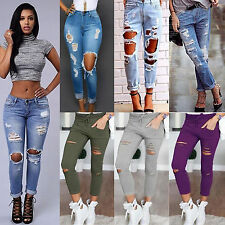 Women Destroyed Knee Ripped Denim Jeans Skinny Slim Stretch Trousers Pencil Pant
