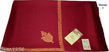 Elegant Hand Embroidered Kashmir Pure Natural Wool Large Shawl SUS Maroon-3