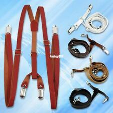 Lady Faux Leather Solid Suspenders Pants Braces Y-Shaped Brown Leather 5 Colors