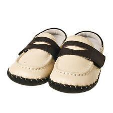Little Blue Lamb Boys Soft Sole Cream Baby Shoes. Leather