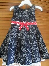 NWT Adorable Girl's Rare Editions toddler Dress Size 2T Navy