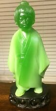 "Chinese Fine Carved Jadeite Carving figurine very old 9"" tall and 4"" wide Jade"