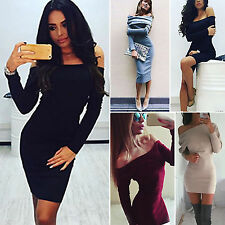 Womens Night Out Party Bodycon Dress Ladies Off Shoulder Jumper Dress Size 6-14