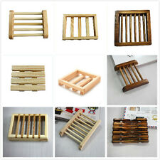 Top  Natural Wood Soap Tray Holder Dish Box Case Storage Shower Wash Bathroom