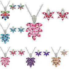 Bridal Wedding Bouquet Jewelry Crystal Rhinestone Diamante Necklace Earring Sets