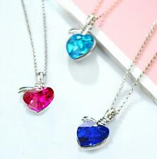 Women Girl Crystal Rhinestone Silver Plated Chain Pendant Heart Necklace Jewelry