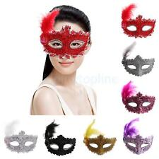 Fancy Dress Feather Lace Eye Mask Masquerade Halloween Party Costume for Girls