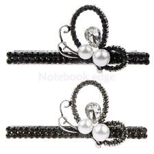 Women Girls Sweet Rhinestone Pearls Barrette Hair Clip Pin Clamp Hair Accessory