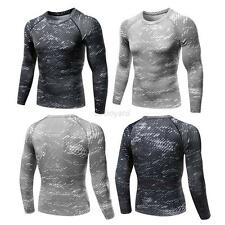 Mens Compression Long Sleeve Tight Top Tee Shirts Workout Skinny Sport Gear GYM