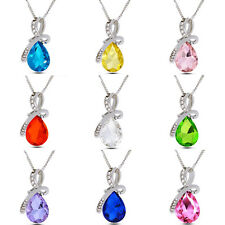 Hot Selling Women Silver Chain Crystal Rhinestone Pendant Necklace Charm Jewelry