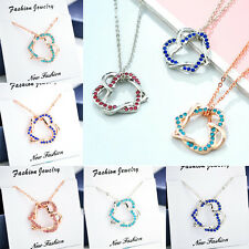 Fashion Women Pendant Jewellery Crystal Double Heart Silver Gold Chain Necklace