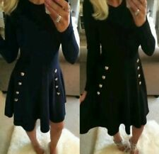 LADIES NEW MILITARY SKATER DRESS WITH LONG SLEEVES SIZE 8- 20